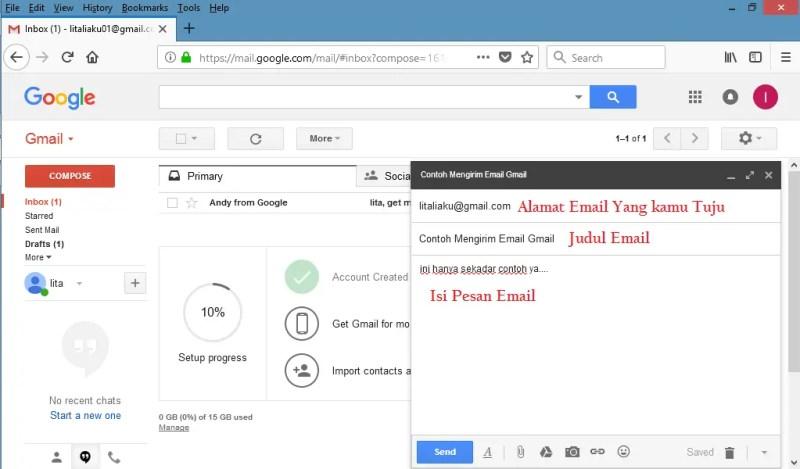 halaman untuk menulis email di gmail