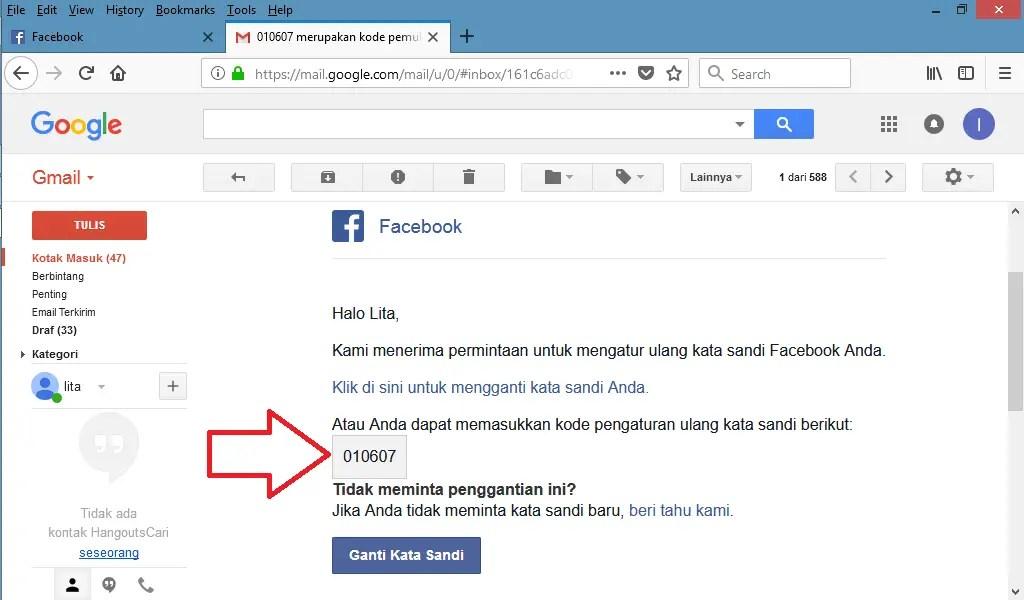 buka email dan temukan kode