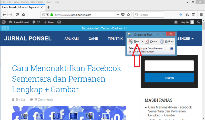 Screenshot di Laptop Menggunakan Snipping Tool
