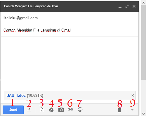 Simbol-Simbol dalam Gmail di Kotak New Message