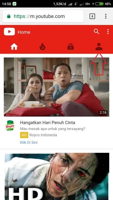 buka situs youtube.com di browser kamu