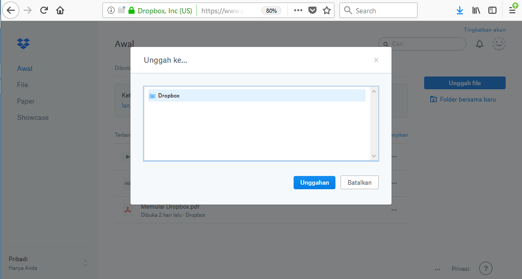upload file ke dropbox