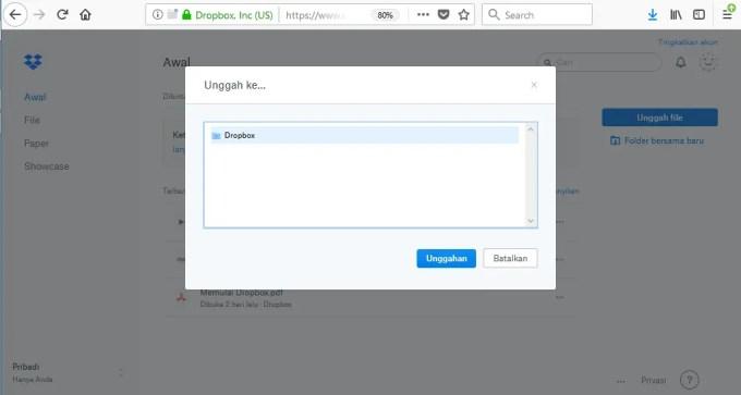 upload file ke dropbox