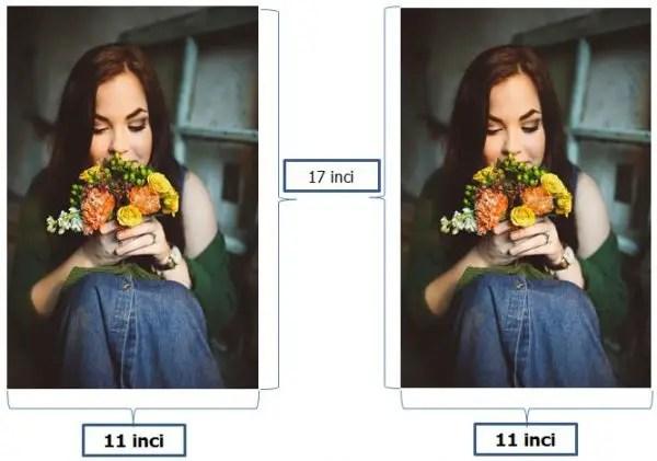 contoh ukuran foto 11R Plus dalam satuan inci