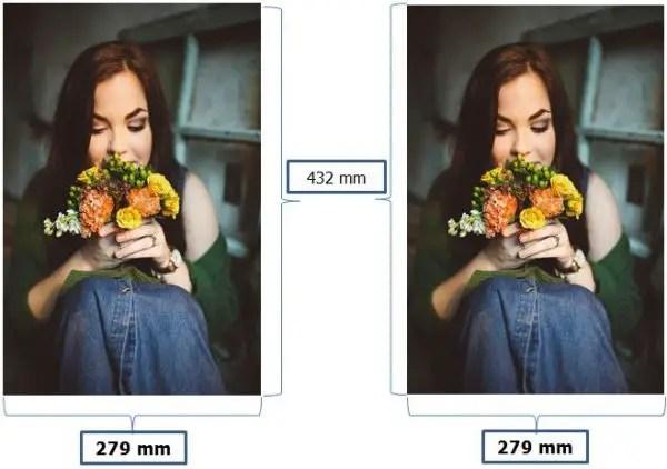 contoh ukuran foto 11R Plus dalam satuan mm