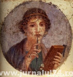60-150  Portrait de Jeune femme au Stylet dite Sappho  31x34 cm  IVeme Style  Pompei Insula occidentalis