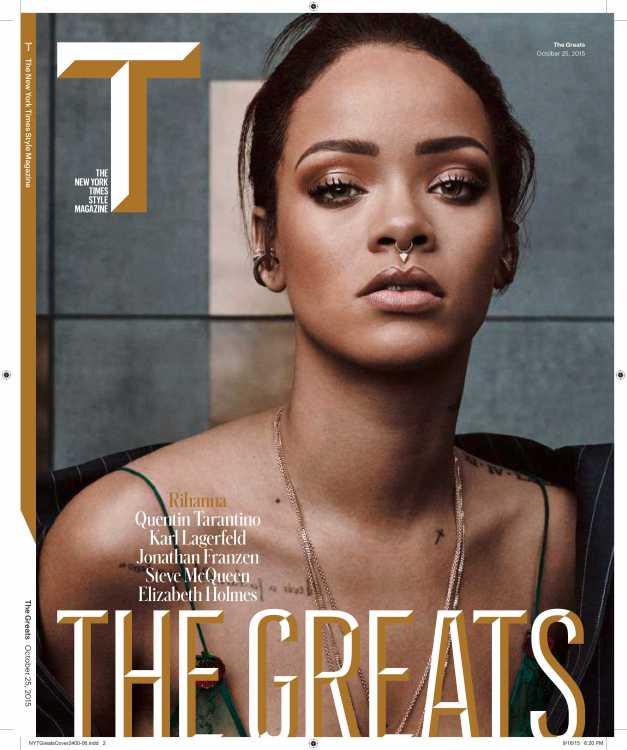 """In numărul actual al """"T  Magazine», Rihanna poartă un piercing fals în sept."""