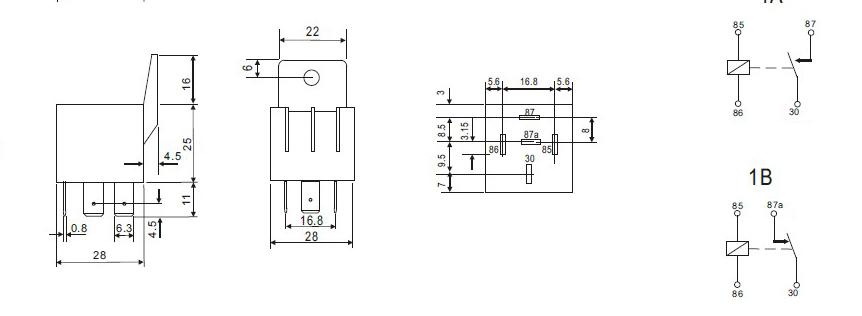 KIT RELAIS 12V/40A mit/with Sockel / Socket RELAY KFZ