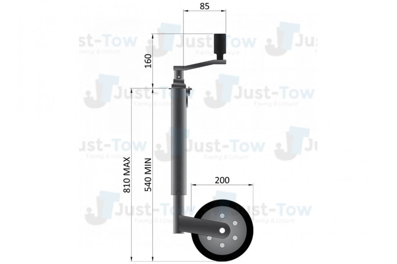 42mm Heavy Duty Telescopic Jockey Wheel