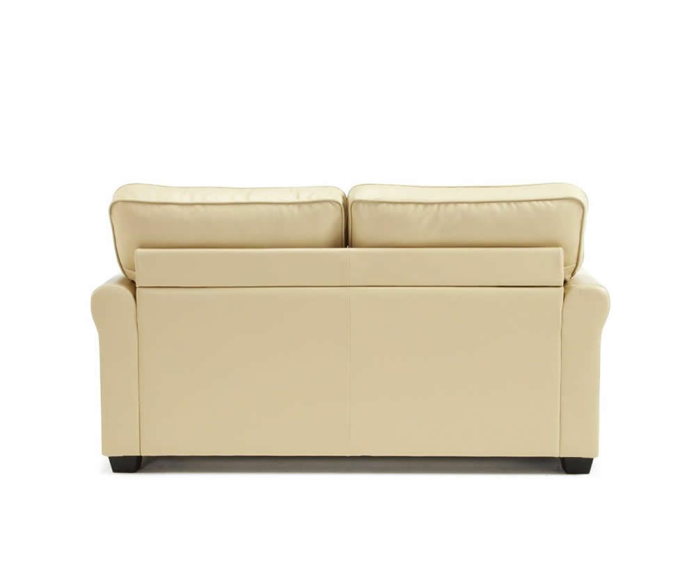 3 seater sofa standard length the co costa mesa naples 112cm cream faux leather bed - just 4ft beds