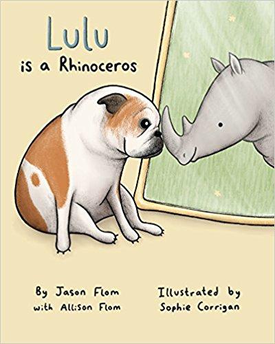 bulldog, rhino, children's book, flom