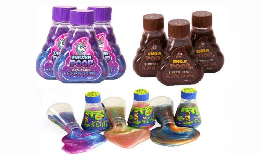 unicorn slime, poop slime