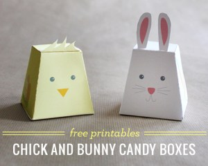Chick and Bunny candy boxes with free printables