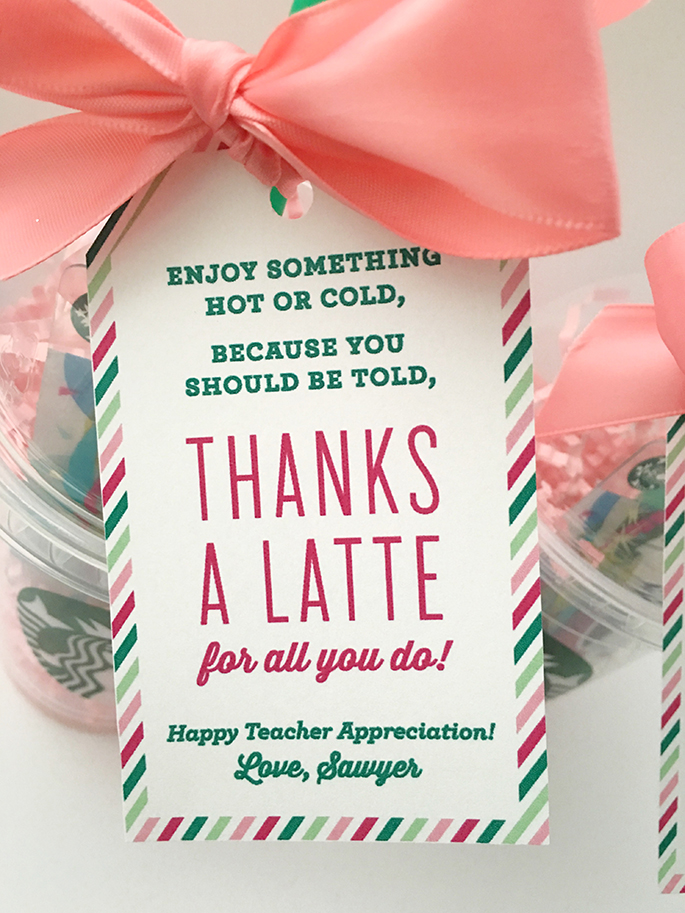 photo regarding Thanks a Latte Printable Tag called Because of A Latte Instructor Appreciation Reward Principle with no cost