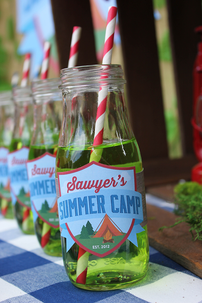 bug juice, trail mix bar, Summer Camp Tablescape, camping, s'mores, kids party, lanterns, trail mix, camping party, summer camp party