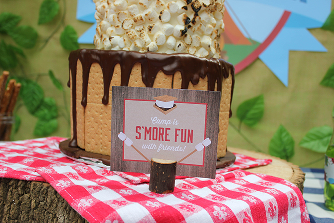 camp is s'more fun with friends, kids table, moss five decor, cookies, bug juice, trail mix bar, Summer Camp Tablescape, camping, s'mores, kids party, lanterns, trail mix, camping party, summer camp party
