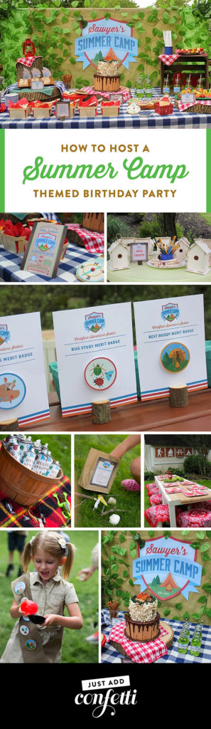 Summer Camp themed birthday, summer camp Tablescape, camping, s'mores, kids party, lanterns, trail mix, camping party, summer camp party