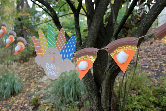 Thanksgiving pie banner, pie banner, kids craft, thanksgiving decor, easy thanksgiving decor, pie bunting, free printable, just add confetti