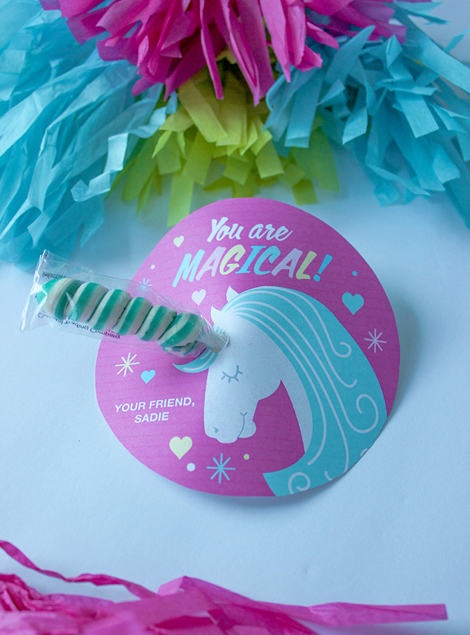 Twisty Lollipop Unicorn valentine, unicorn valentine, classroom valentine, kids valentine, free printable valentine, valentine, free printable, unicorn, unicorn free printable, You are Magical unicorn valentine, You Are Magical, Just Add Confetti, Just Add Confetti printables, DIY valentine, easy valentines, easy kids valentines, simple valentines,