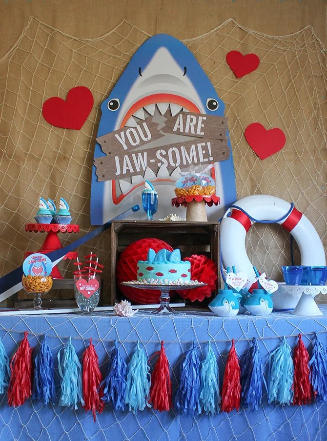 You Are Jaw-some Valentine's Day Party, Jaw-some, Valentines party, kids valentine's day party, kids valentines party, shark party, valentine's day, oriental trading, partnership, fin-tastic, free printables, party ideas, party inspiration, valentine's day shark party, valentines shark party, Just Add Confetti