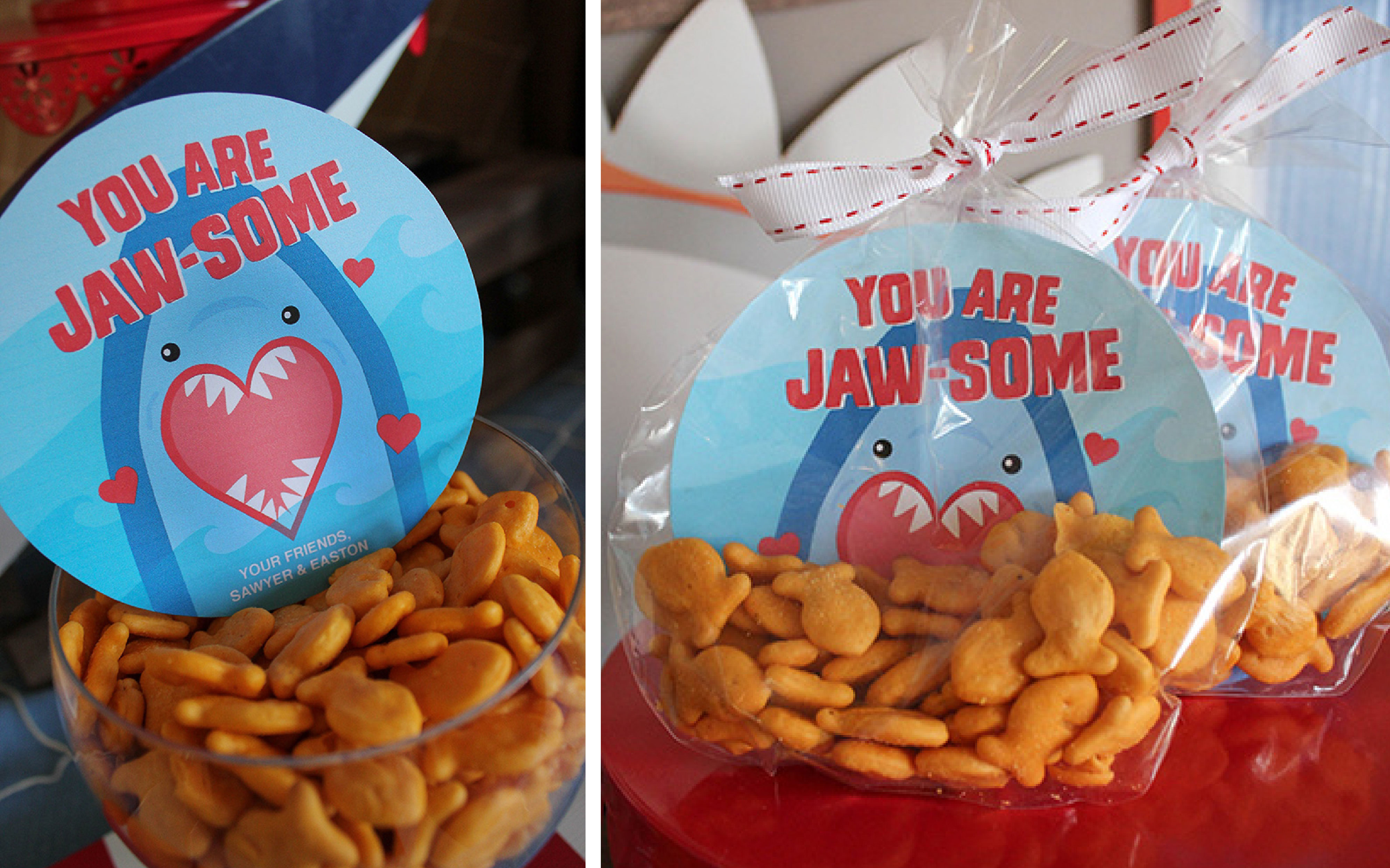 You Are Jaw-some Valentine's Day Party, shark party, Jaw-some, Valentines party, kids valentine's day party, kids valentines party, shark party, valentine's day, oriental trading, partnership, fin-tastic, free printables, party ideas, party inspiration, valentine's day shark party, valentines shark party, Just Add Confetti