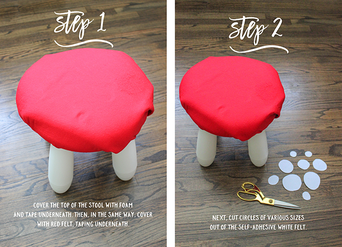 DIY Toadstool Stools, DIY Toadstool Stools, IKEA hack, toadstool stools, how to make DIY toadstool stools, Ben & Holly's Little Kingdom party, kids stools, elf and fairy party, fairies and elves party, toadstool stools, kids party, DIY party decor, toadstool stools IKEA hack, IKEA Mammut stool, IKEA Mammut stool hack
