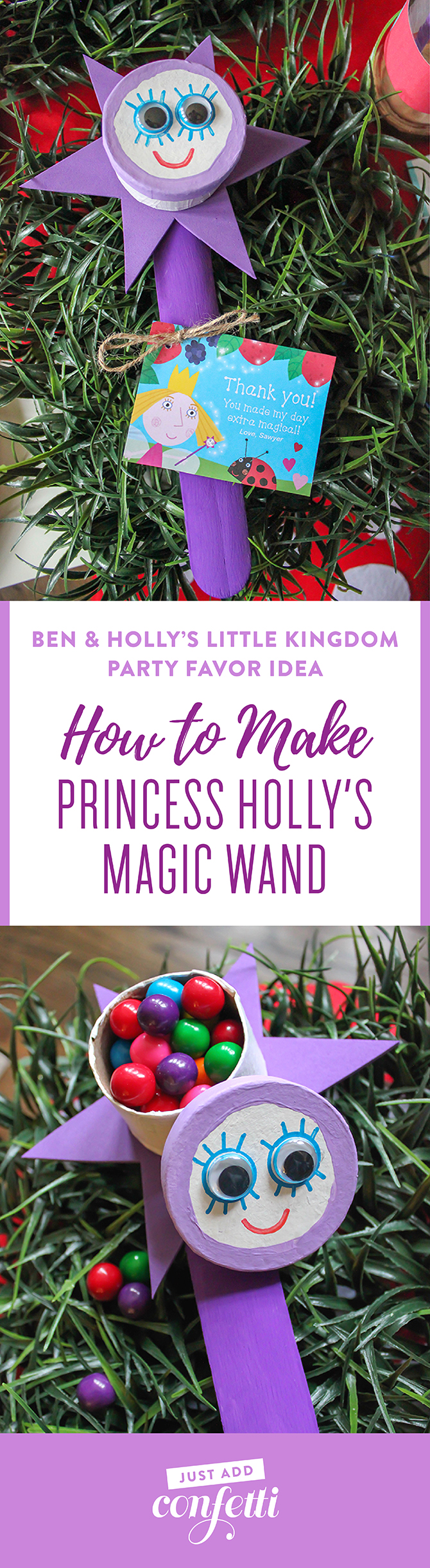 Ben & Holly's Little Kingdom party, Ben & Holly's Little Kingdom party favor idea, Princess Holly's Magic Wand party favor, DIY Princess Holly's magic wand, DIY magic wand party favor, princess wand party favor, Just Add Confetti, partnership, Ben & Holly's Little Kingdom, Princess Holly's magic wand, magic wand party favor,