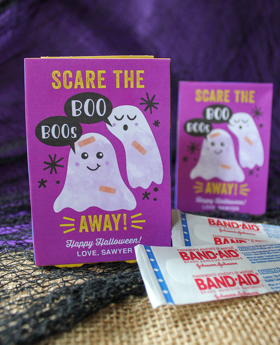 Scare The Boo Boos Away: Band-Aid Halloween Gift Idea, Band-Aid, Halloween Gift Idea, non-candy, non-candy Halloween gift, Boo Boo ghosts, Band-Aid Ghosts, bandaid, box of band-aids, bandaids, Just Add Confetti, free printable, party blogger, creative gift ideas, classroom gift, halloween party favor, halloween classroom gift, scare the boo boos away, boo boos, Just Add Confetti printables