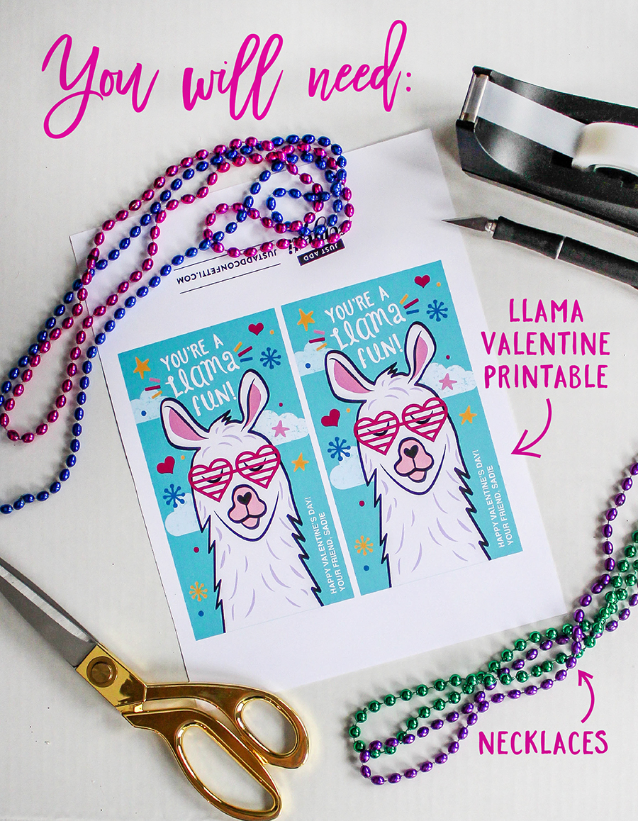 Llama Kids Valentine, You're A Llama Fun, llama, necklace, kids valentine, classroom valentine, non-food valentine, diy valentine, Just Add Confetti, free printable, valentine, valentines for kids, Valentine's Day, llama valentine, llama fun,
