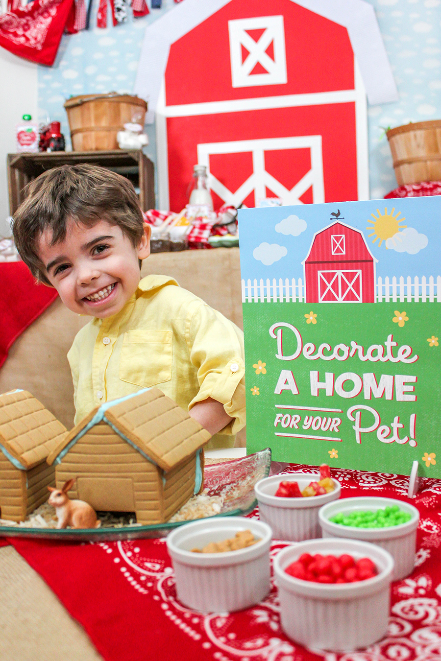 Farm party, farm party ideas, Schleich, farm, party ideas, partnership, printables, free printables, playdoh carrots, adopt an animal, adoption certificate, oink, moo, cock-a-doodle doo, decorate a home for your pet, gingerbread house, donut tractor, pig sty pudding, farm animals, creative food, farm food, Just Add Confetti,