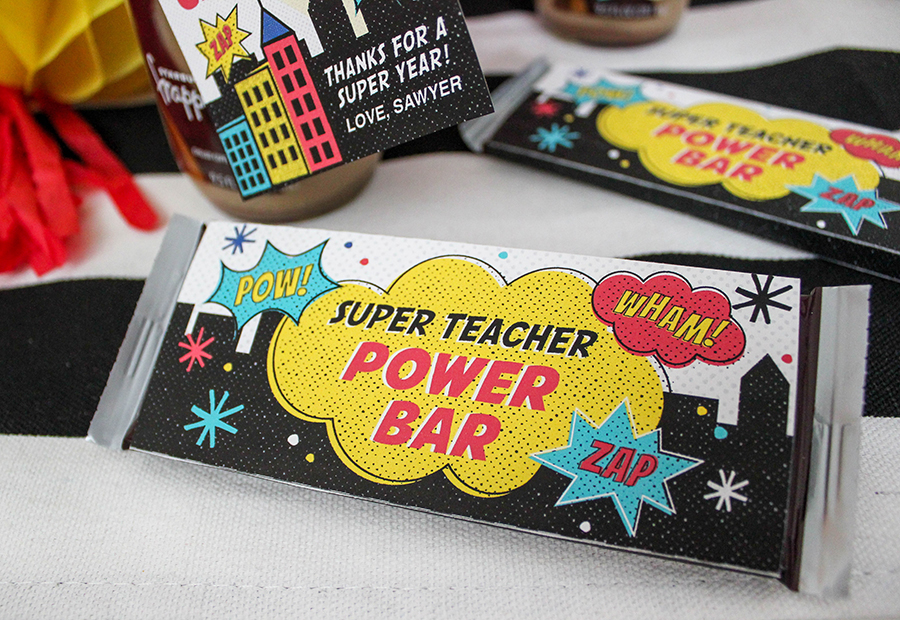 Superhero Teacher Appreciation Gift Idea, teacher appreciation, superhero teacher, super teacher, superhero teacher gift, teacher, superhero, super teacher power bar, not all superheroes wear capes, Just Add Confetti, free printable, teacher gift,