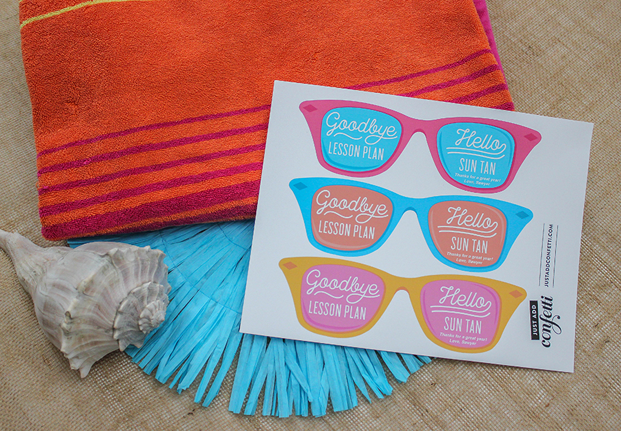 Goodbye Lesson Plan Hello Sun Tan, suntan, lesson plan, teacher appreciation, teacher gift, beach towel, beach towel gift, sunglasses, sunglesses gift tag, printable gift tag, Just Add Confetti, end of school year gift, gift for teacher, teachers, teacher, summer, thank you,
