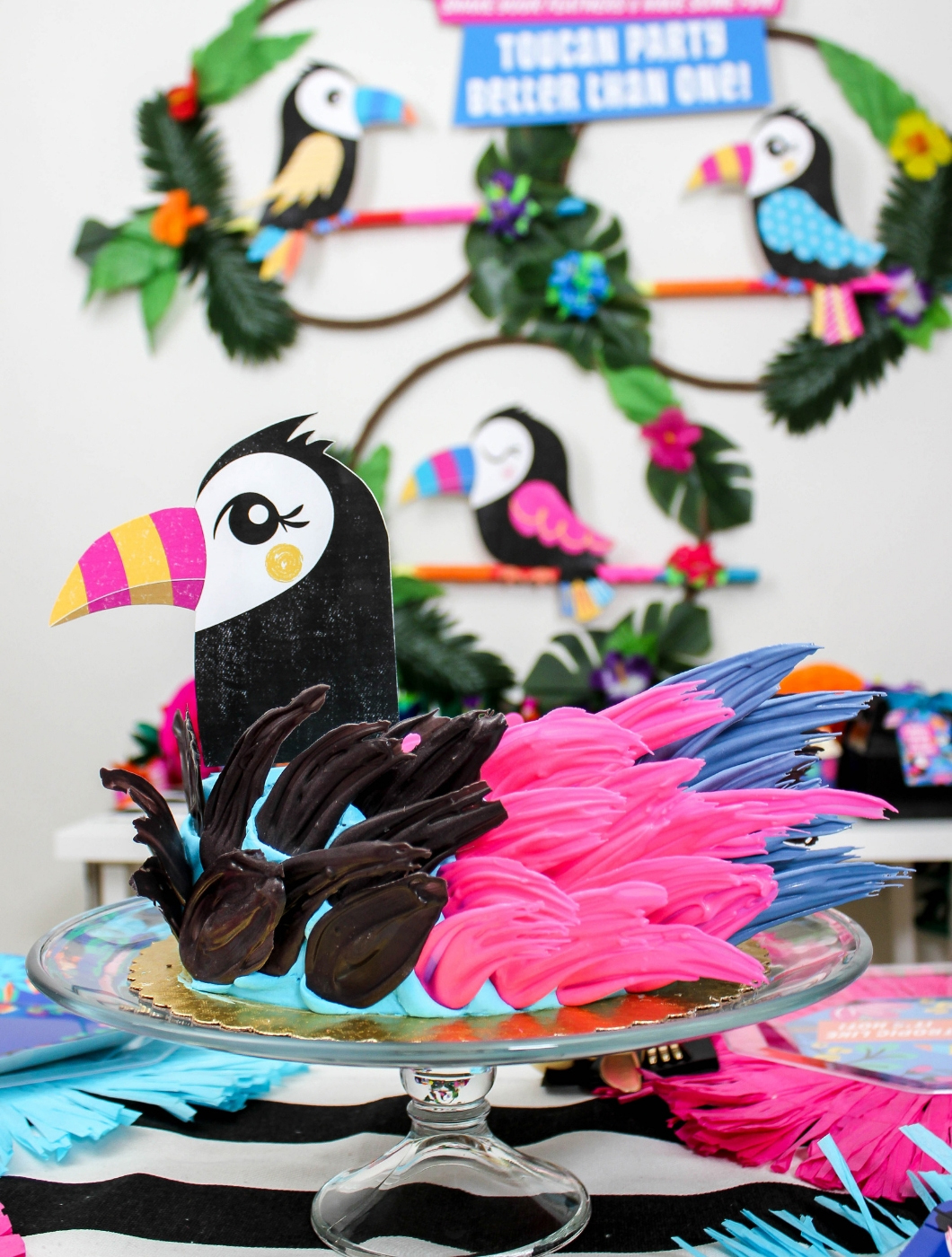 toucan birthday party, toucan party better than one, partnership, oriental trading, Fun365, toucan, bird, tropical, Just Add Confetti, free printables, printable invitation