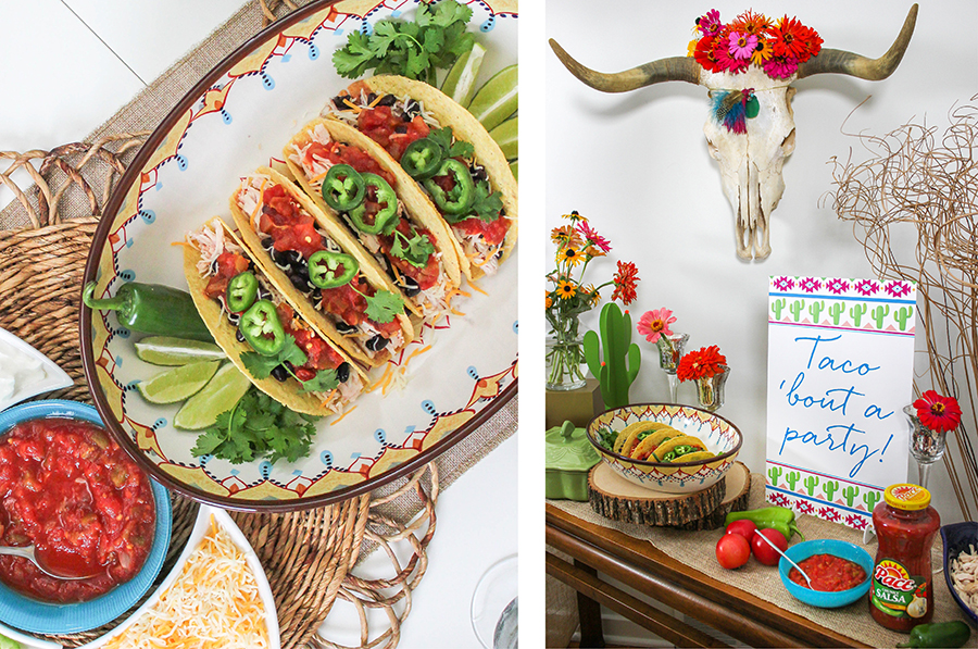"""All We Need Are Friends and Tacos"" Southwest Boho Inspired Taco Night Party, Southwest Boho Inspired Taco Night Party, taco night, Pace salsa, Pace Picante Sauce, brand partnership, taco 'bout a party, tacos, cactus, cacti, steer skull, steer skull with flowers, pillow seating, pillow floor seating, cream catcher, DIY dream catcher, dreamcatcher, DIY craft tutorial, make your own large boho dream catcher, Pace taco night, Just Add Confetti, Pace"
