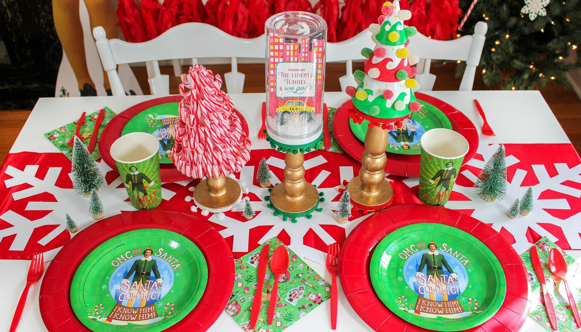 Elf Movie Night Christmas Party, Elf, Elf movie night, let's take an elfie, Buddy the Elf, Elf party ideas, Christmas party, Just Add Confetti, free printables, sign loud for all to hear, elf 4 main food groups, spaghetti cake, snow ball fight, Christmas elf, Elf centerpiece, mug printables