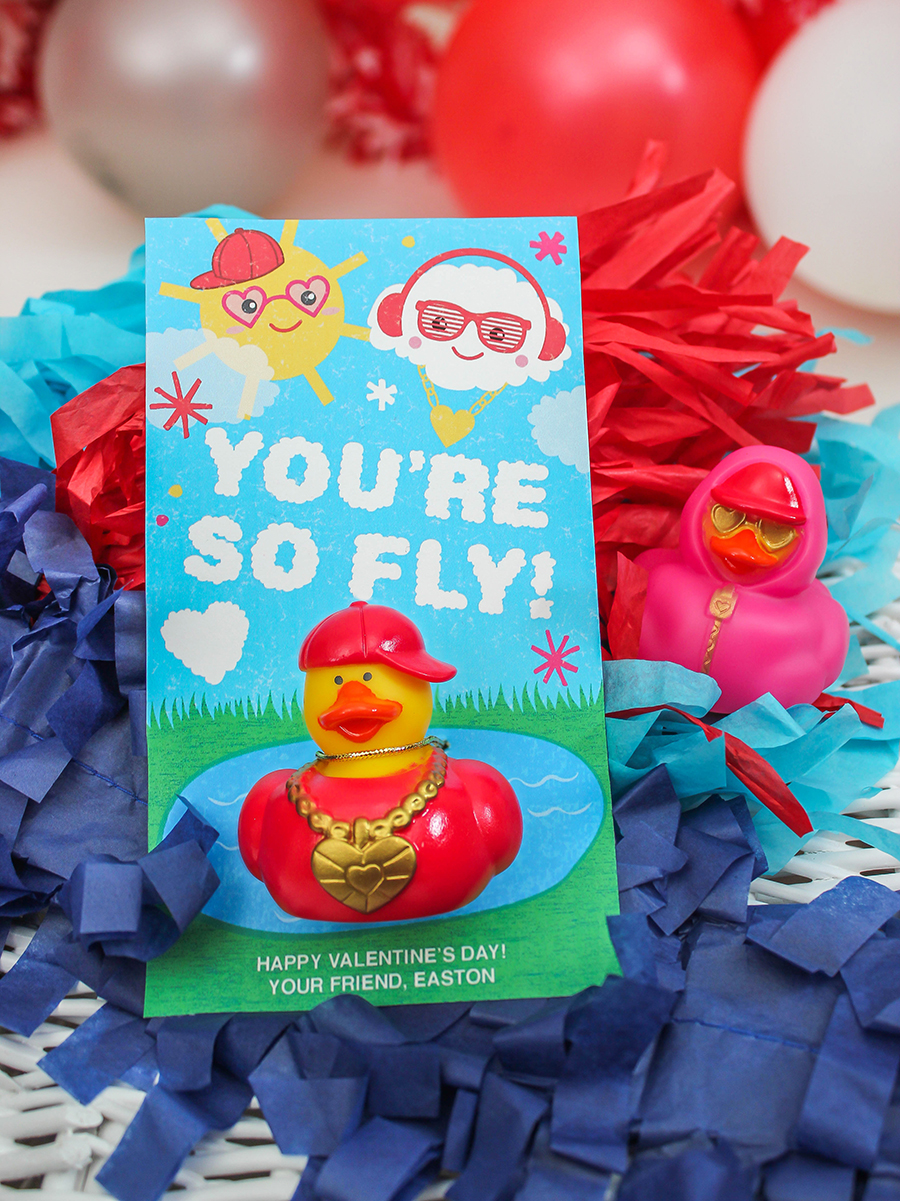 You're so fly, hip hop ducks, you're so fly hip hop ducks kids valentine, kids valentine, Just Add Confetti, free printable, Etsy shop, ducks, valentine ducks, Valentine's Day, classroom valentine, hip hop