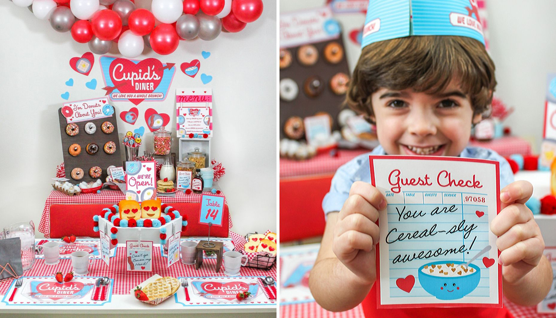 Cupid's Diner Valentine's Day Family Brunch Party, Valentine's Day family brunch, Valentine's Day, retro diner, brunch, we love you a whole brunch, kids valentines, party printables, Cupid's Diner, I like you a waffle lot, you are egg-cellent, Don't go bacon my heart, Just Add Confetti, Oriental Trading, Fun365, I'm donuts about you, Valentine's Day party, free printables, puns, Valentine's Day puns, guest check, retro diner order stand DIY, retro menu board DIY
