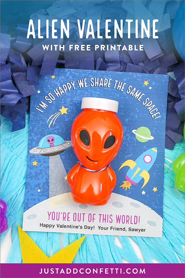 Alien valentine, alien slime valentine, alien slime, slime, kids classroom valentine, I'm so happy we share the same space, alien kids classroom valentine, you're out of this world, Just Add Confetti, free printable, Oriental Trading, alien, stars, outer space, rocket, ufo, planet