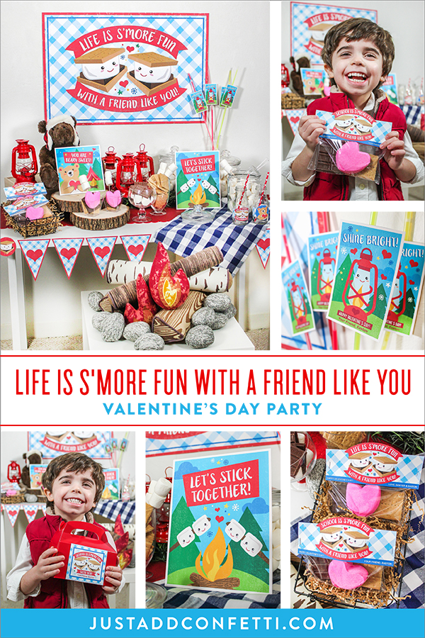 life is s'more fun with a friend like you, s'mores party, s'mores Valentine's Day party, s'mores Valentine's Day playdate, giveaway, Sprinkles and Confetti, shine bright, s'mores, let's stick together, classroom valentines, school valentines, kids valentines, Just Add Confetti, etsy, Etsy Shop, party printables, Valentines, Valentine's Day, s'more fun, s'mores campout, indoor campout