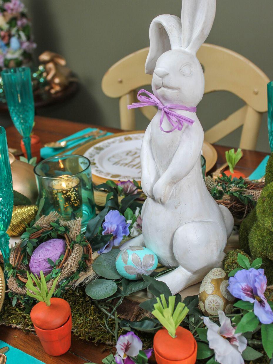Woodland Easter table, Woodland Easter decor, tablescape, Easter, Easter decor, Easter eggs, Woodland Easter eggs, nature inspired Easter table, nature inspired decor, DIY carrot pot favors, DIY nests, nature inspired Easter decor, Just Add Confetti