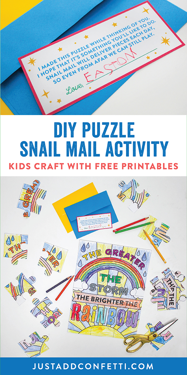 DIY Puzzle Snail Mail Activity, Puzzle Coloring Page Snail Mail Activity, puzzle, free printable, kids craft, coloring page, Just Add Confetti , the greater the storm the brighter the rainbow, rainbow, color, ways to play, mail a smile, bring the fun