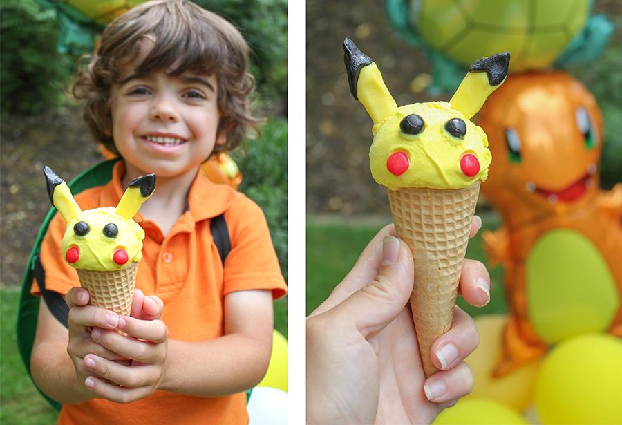 Pikachu ice cream, Pokemon ice cream, creative food, party food, ice cream, pikachu, pokemon, DIY Pikachu ice cream cones, Pokemon party, Pokemon theme, Just Add Confetti,