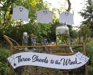 Three Sheets to the Wind Halloween Bar Cart Idea