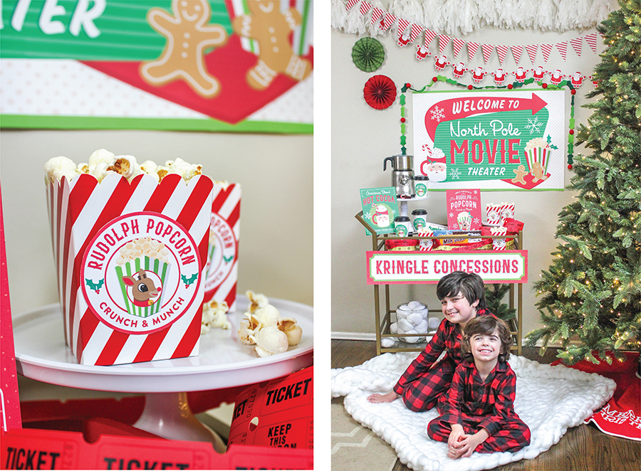 Christmas Movie Night Party Ideas, Christmas, Christmas movie night, movie night, movie party, holiday movies, Christmas movies, North Pole Movie Theater, printable decor, Just Add Confetti, Just Add Confetti printables, popcorn, hot cocoa, Rudolph Popcorn, Christmas blend, santa, Kringle Concessions, hot cocoa brownies, brownie bites, at-home celebration, family party, pajamas, pajama party, concession stand, bar cart, concession cart, invitation, Etsy shop, Etsy, Etsy seller