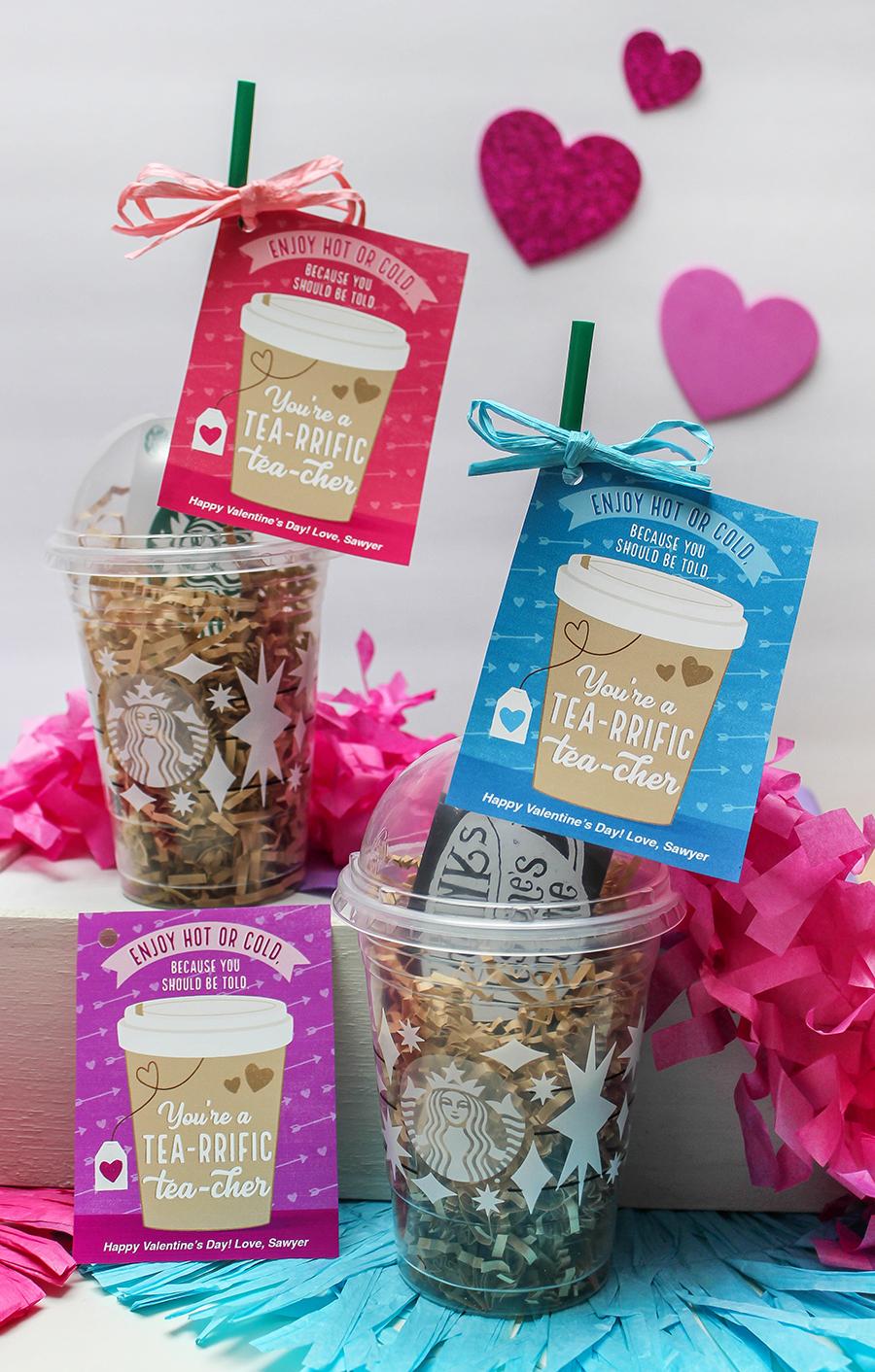 Valentine's Day gift ideas for teachers, teacher gifts, teacher appreciation, gift tags, printable gift tags, valentines, school valentines, Just Add Confetti, etsy shop, tea, you're a tea-rrific tea-cher, tea gift tag