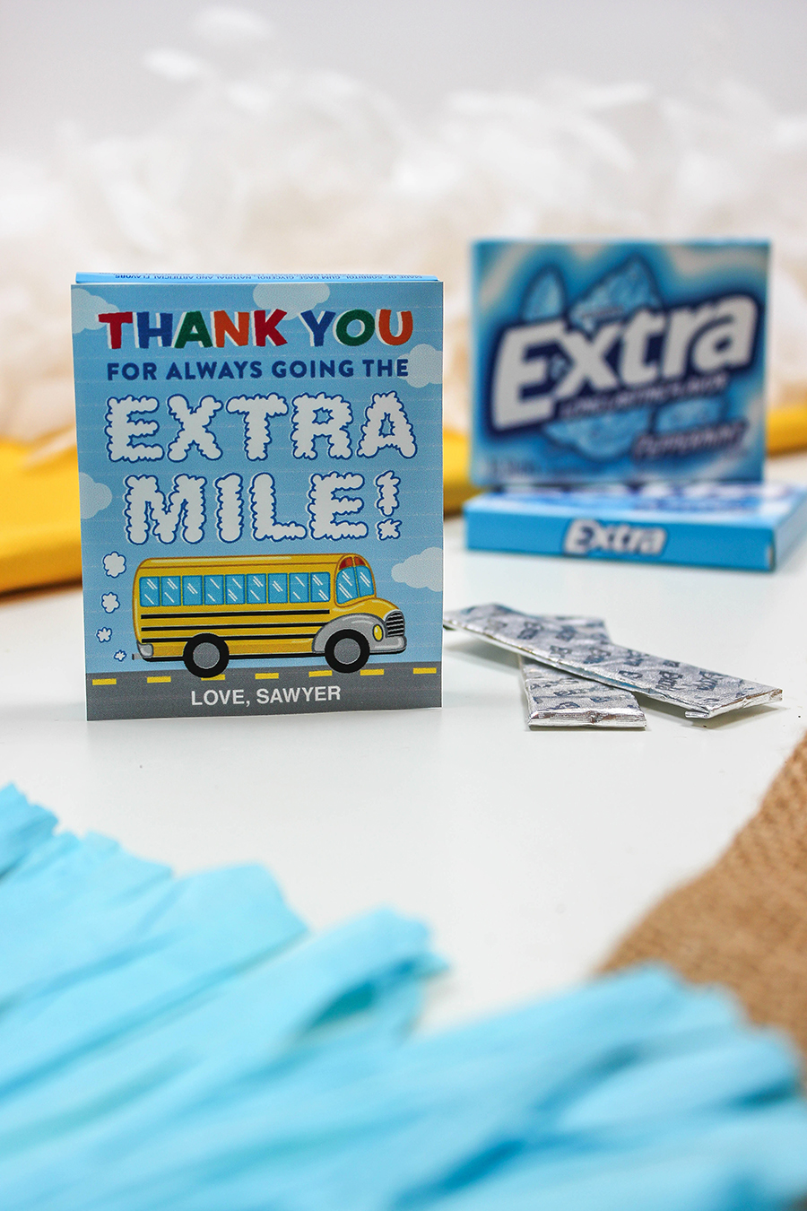 extra gum bus driver appreciation gift, school bus driver gift, thank you for always going the extra mile, extra gum gift, easy gift idea, bus driver gift, thank you gift, bus driver thank you gift, Just Add Confetti, Etsy shop, Etsy seller, gift tag printable, extra gum gift tag, school bus gift tag, DIY gift idea, DIY gift, gift for teacher, gift for bus driver, bus driver appreciation