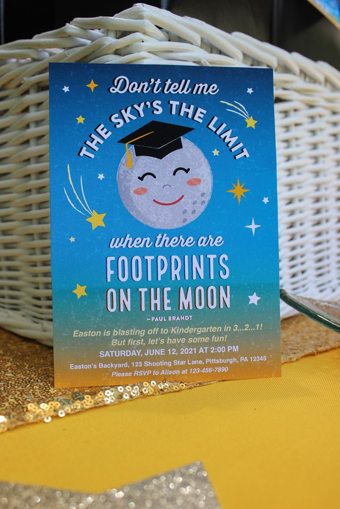outer space moon stars graduation party invitation
