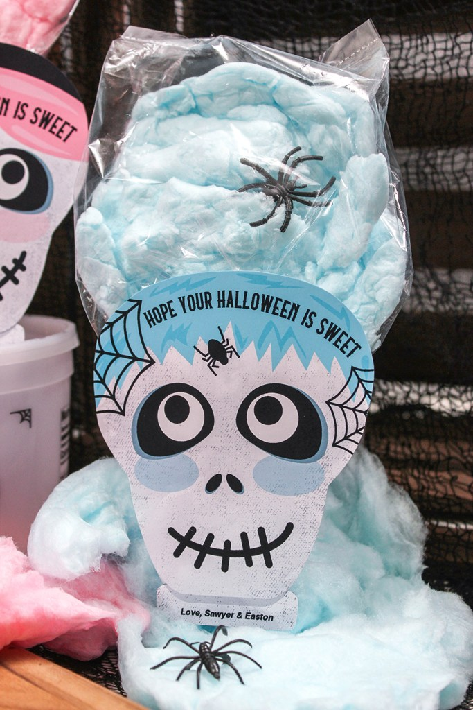 skeleton cotton candy Halloween treat, skeleton, cotton candy, cotton candy hair, cotton candy treat bag, Just Add Confetti, skeleton treat bag tag, treat bag, gift tag, printable, Etsy shop, pink hair, blue hair, pink, blue, hope your halloween is sweet, spider rings, Halloween party favor, classroom handout, Halloween gift, Halloween treat