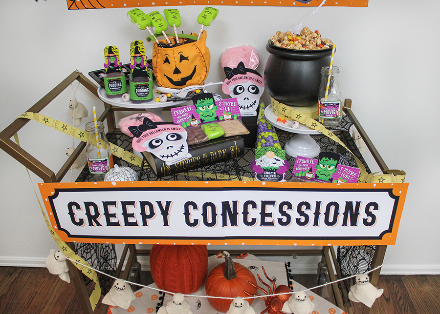 Halloween movie night, Thrills and Chills movie theater, creepy concessions, Halloween treats, family Halloween, kids Halloween, movie party, Halloween movie night party, Halloween movie night decorations, party printables, Etsy, Just Add Confetti, Halloween food, Halloween decorations, Halloween decor, Halloween movie night ideas