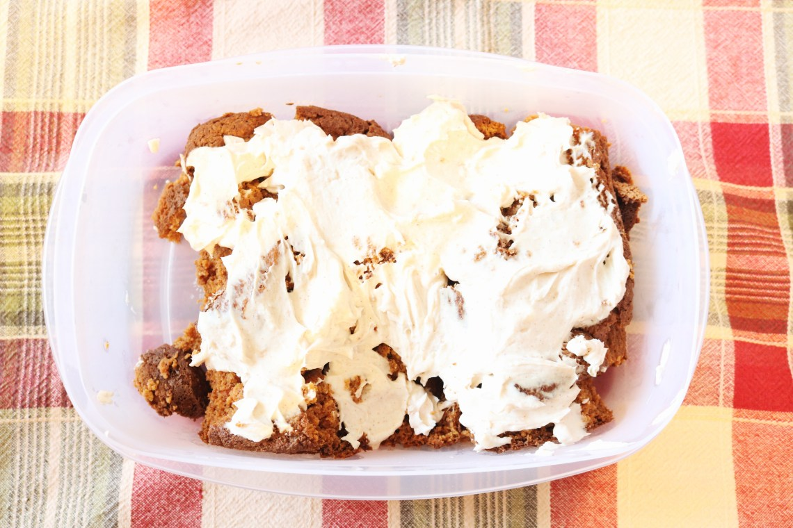 Low Carb Pumpkin Bread with Cream Cheese Frosting in a dish on the table